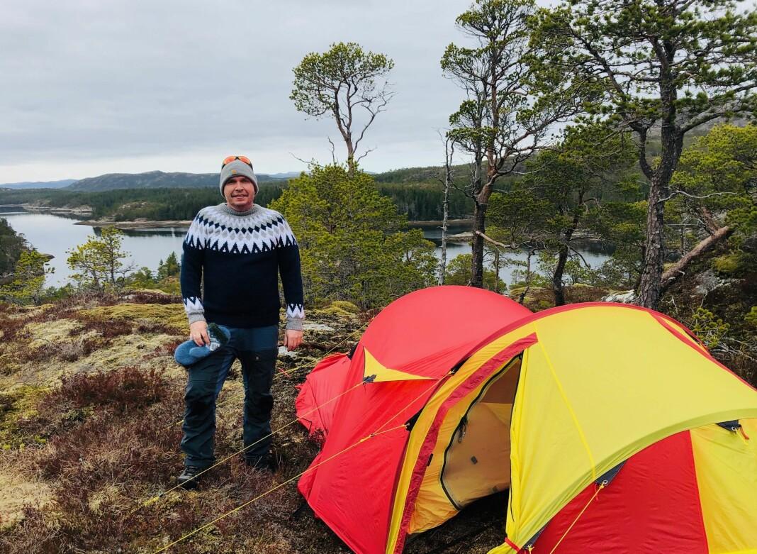 Kjartan Trana fra den første teltturen etter sykehusoppholdet.