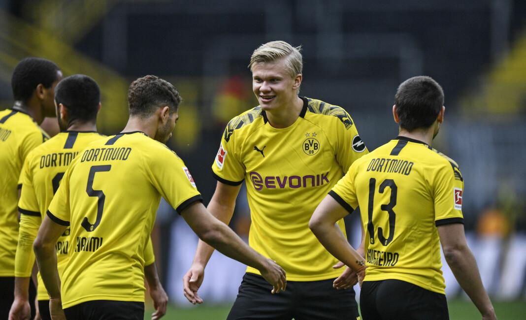 Erling Braut Haaland scoret for Borussia Dortmund lørdag.