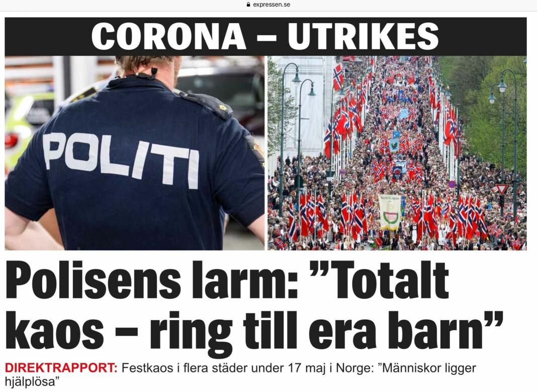 Expressen slo stort opp at det var festkaos i Norge på 17. mai, med et bilde av nasjonaldagen i Oslo i 2013.
