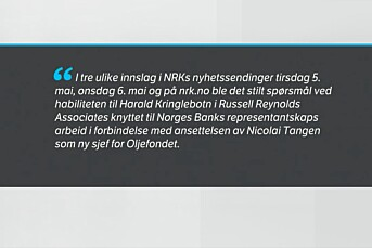 NRK beklager overfor hodejeger