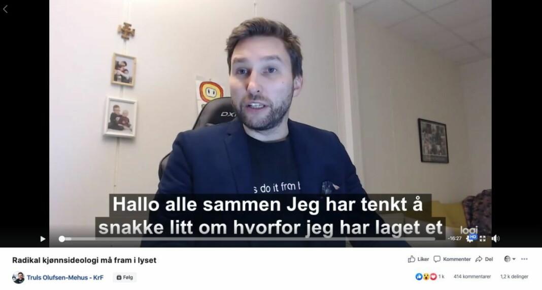 Skjermdump fra Facebook-videoen til Truls Olufsen-Mehus som Faktisk.no faktasjekket.