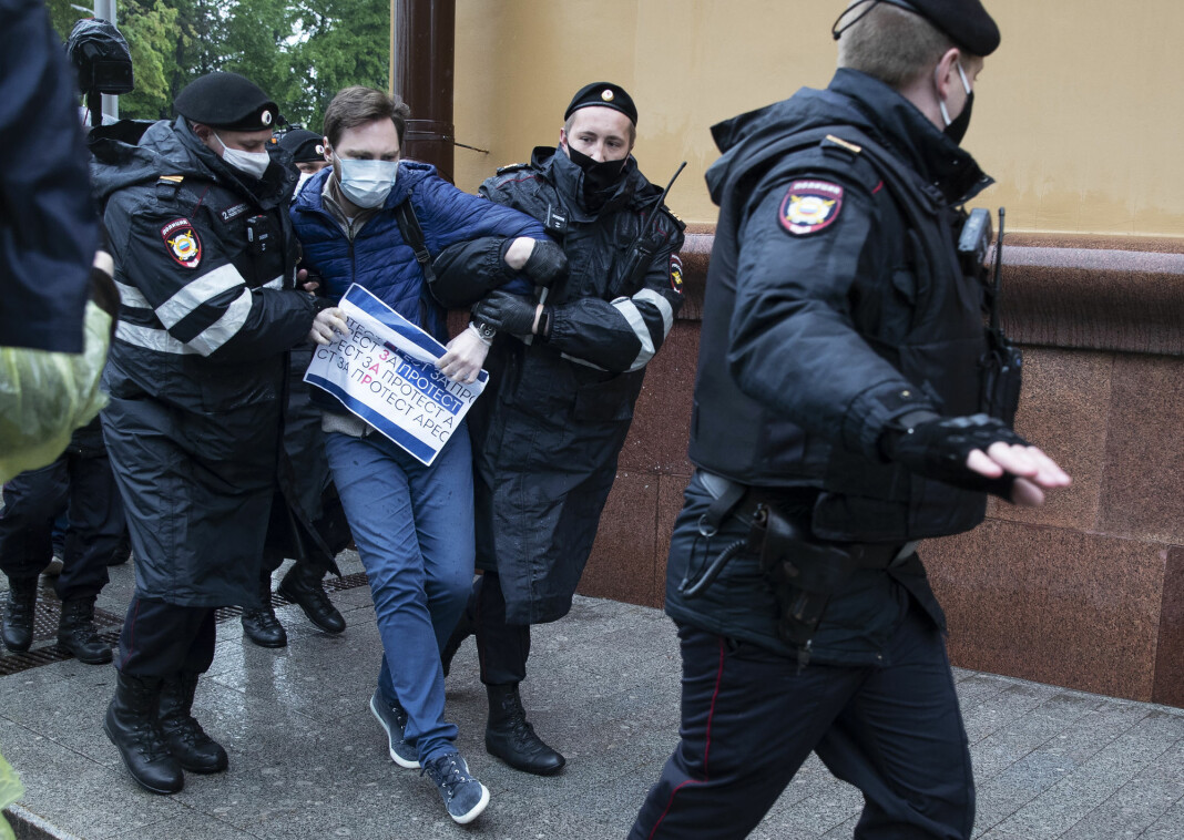 Kirill Gontsjarov er en av flere demonstranter som fredag ble pågrepet i Moskva.