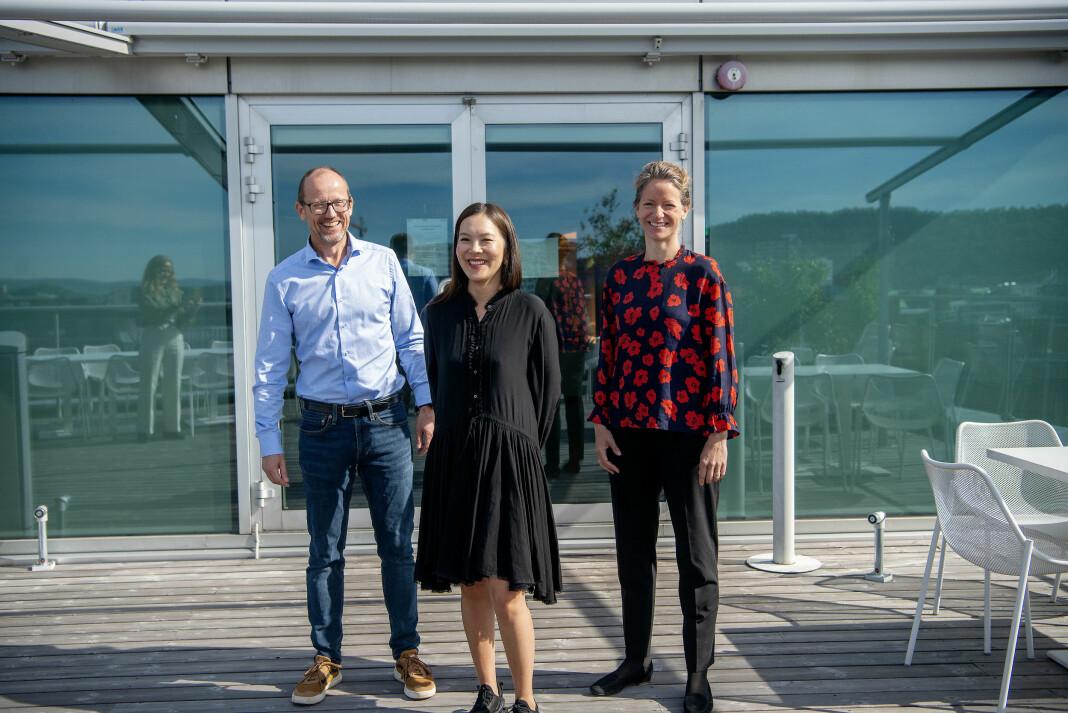 Konsernsjef Per Magne Tveiten i Mentor media, Morgenbladet-redaktør Sun Heidi Sæbø og NHST-konsernsjef Hege Yli Ask.