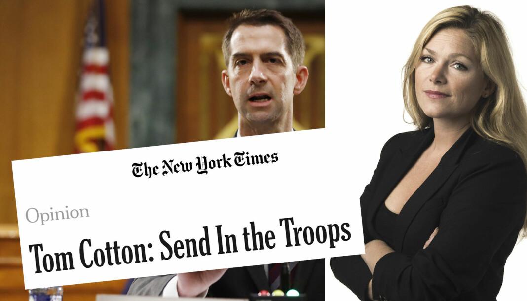 Senator Tom Cotton sto bak kronikken «Send in the troops», som New York Times publiserte.
