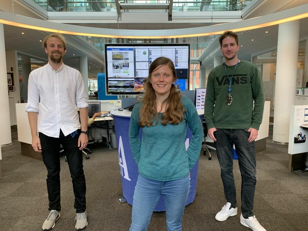 E24-trioen i Stavanger Aftenblad: Fra venstre Anders Fjellberg, Kristine Stensland og Ola Myrset.