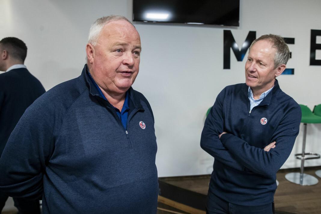 Fotballpresident Terje Svendsen (til venstre) og NFFs generalsekretær Pål Bjerketvedt.