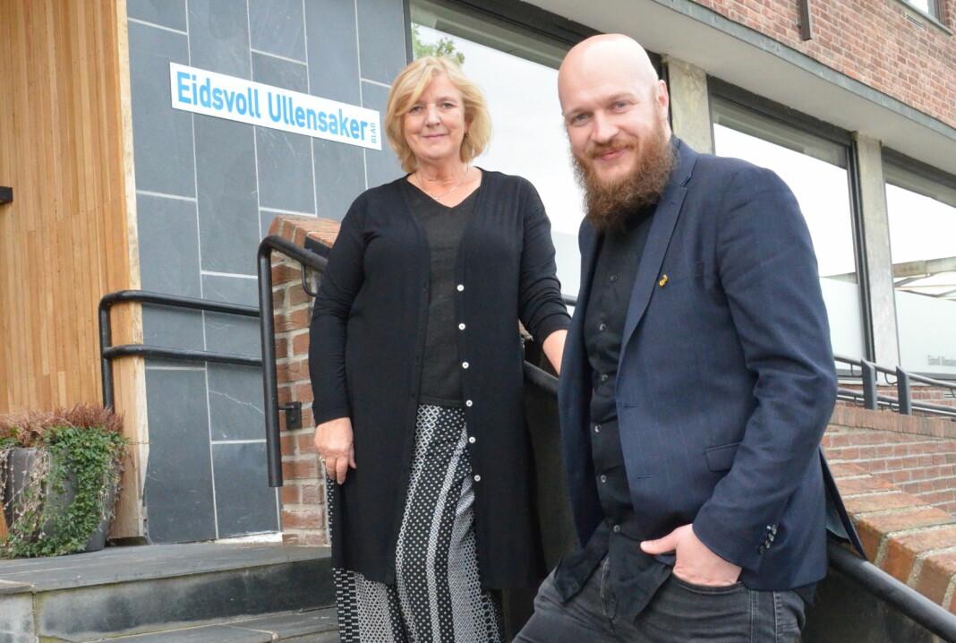 – Jeg har vært her i 13 år og har aldri hørt om noe bedre resultat, sier Eva Holmgren, adm.dir i EUB. Her sammen med ansvarlig redaktør Bjørn Inge Salberg Rødfoss.