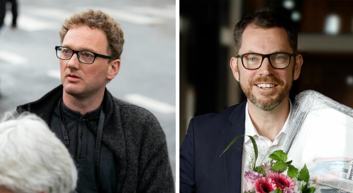 Peder Jensen, kjent som bloggeren «Fjordman», og sjefredaktør Bjørn K. Bore i Vårt Land.