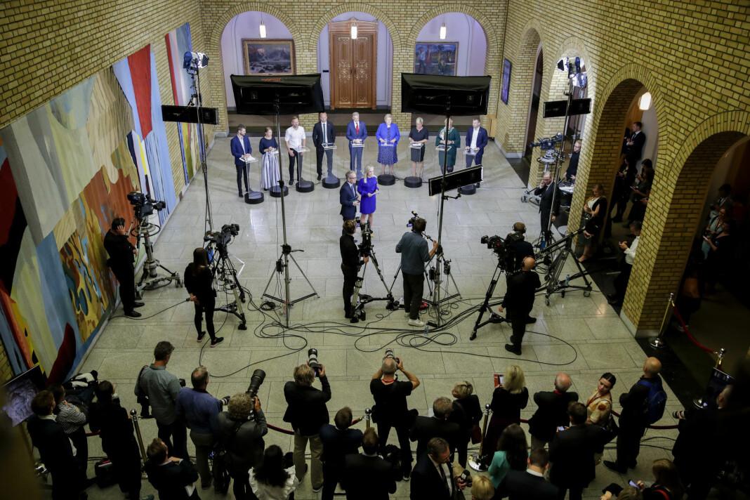 Partilederdebatt på Stortinget ledet av TV 2 Yvonne Fondenes og NRKs Magnus Takvam.