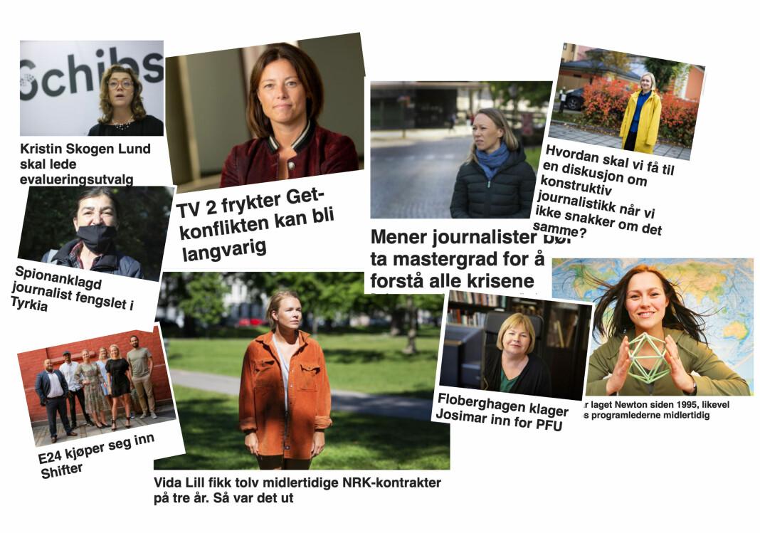 Noen av kvinnene på Journalisten-fronten i uke 24 og 25. Disse ukene var det under 40 prosent kvinner både på front og i sakene våre.