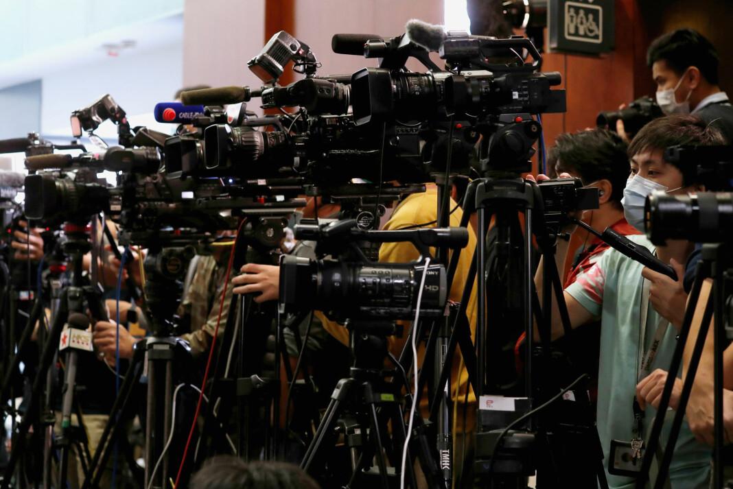 Journalister på plass på en pressekonferanse med lokale myndigheter tidligere i år.