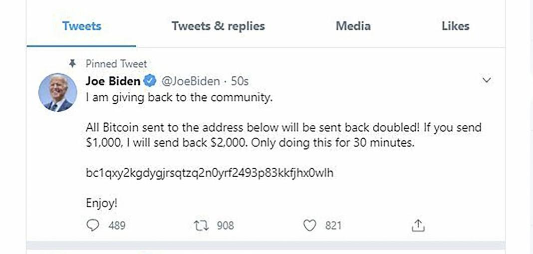 Skjermdump av Joe Bidens Twitter-konto etter at den ble hacket.