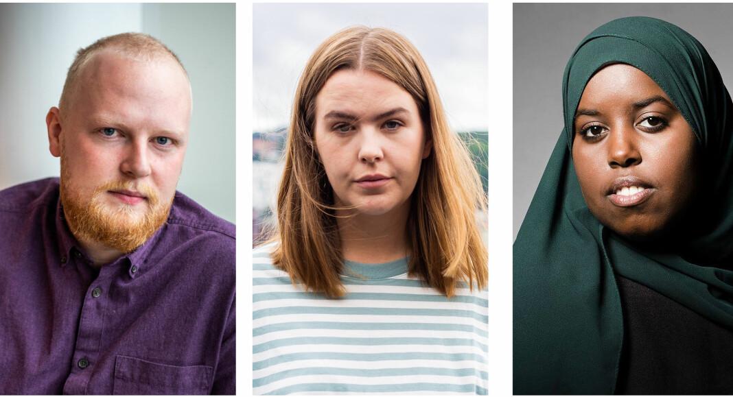 Markus Slettholm (25), debattansvarlig i Morgenbladet, Selma Moren (24), debattansvarlig i Dagsavisen og Sumaya Jirde Ali (22 ), samfunnsdebattant.