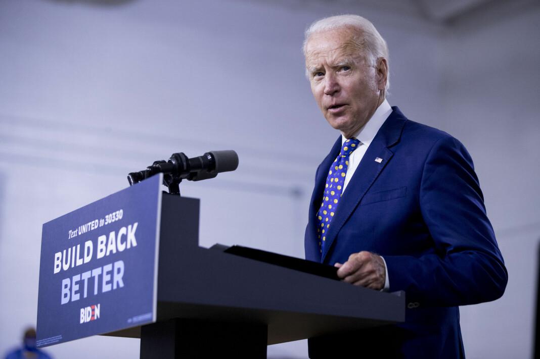 Demokratenes presidentkandidat Joe Biden, her i Wilmington i juli. Bidens valgkampapparat skal bruke flere hundre millioner dollar på annonsering på nett og TV.