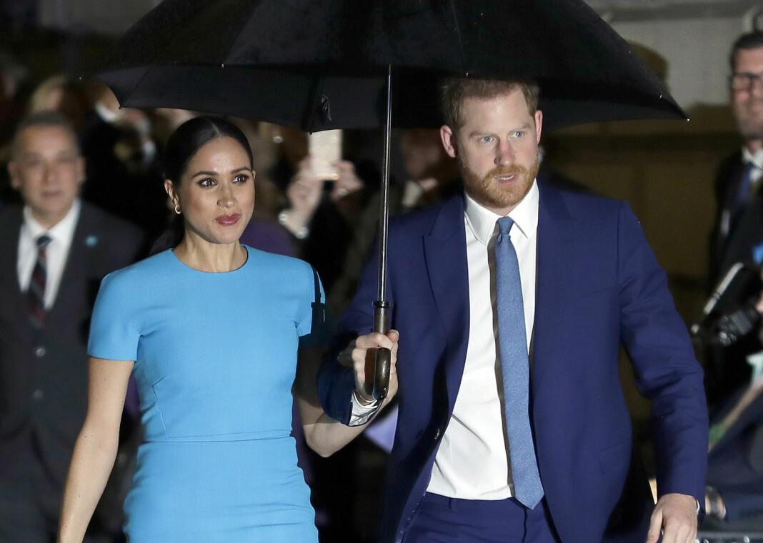 Hertugen og hertuginnen av Sussex prins Harry og Meghan. Bildet er fra mars 2020 i London.