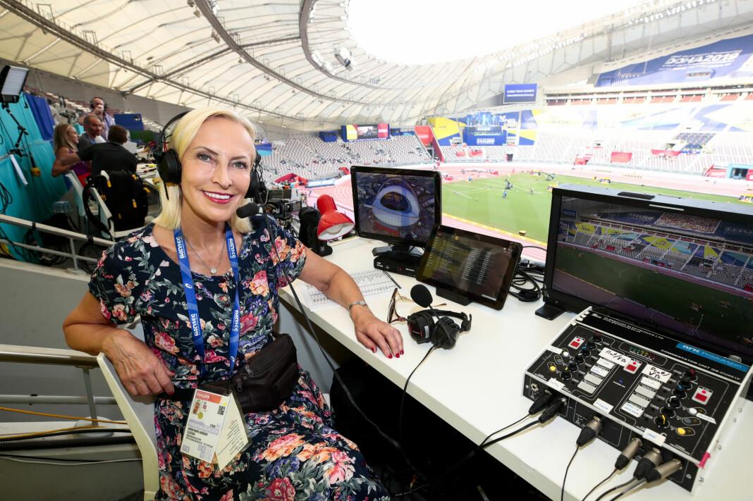 NRK-journalist og kommentator Karen-Marie Ellefsen i NRK under VM i friidrett 2019 i Doha i Qatar i Khalifa International Stadium.