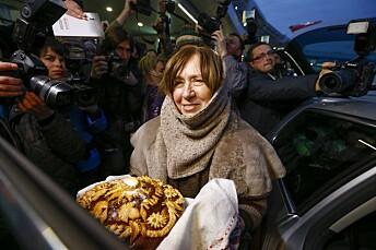 Svetlana Aleksijevitsj fotografert i Stockholm i 2015 i forbindelse med at hun Nobelprisen i litteratur.