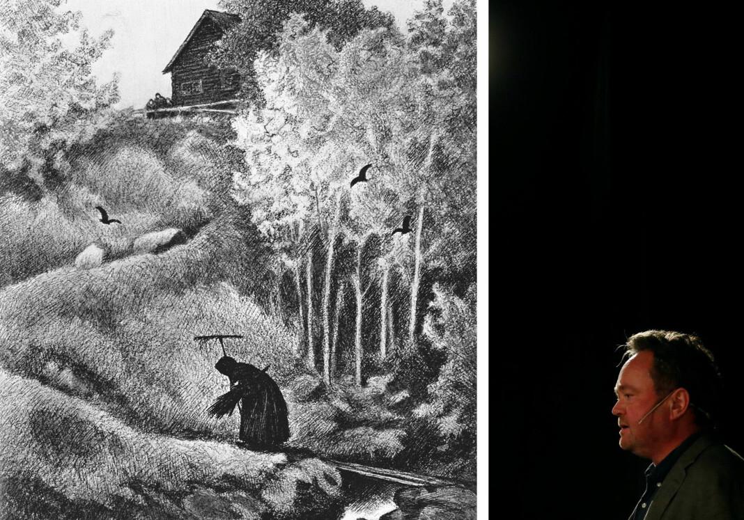 Til venstre Theodor Kittelsens tegning «Svartedauden kommer til gårds». Til høyre TV 2-korrespondent og USA-ekspert Fredrik Græsvik. Eller var det motsatt? Bildene har uansett ingenting med saken å gjøre. Beklager det.