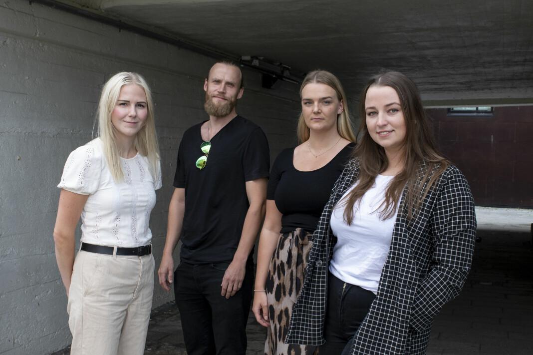 Therese Alice Sanne, Jonas Nilsson, Elise Rønningen og Toini Thanem har sammen med tidligere Adressa-journalist Jonas Alsaker Vikan (ikke på bildet) fortalt hvordan stalkeren Christopher har forfulgt trønderske kvinner.