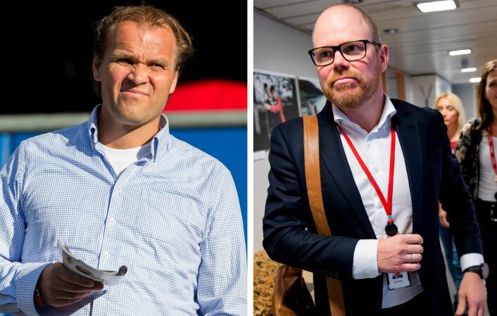 Hans Erik Ødegaard (t.v) nekter å uttale seg til journalister. Han klaget inn VG til PFU, her ved sjefredaktør Gard Steiro (t.h), som ikke ble felt.