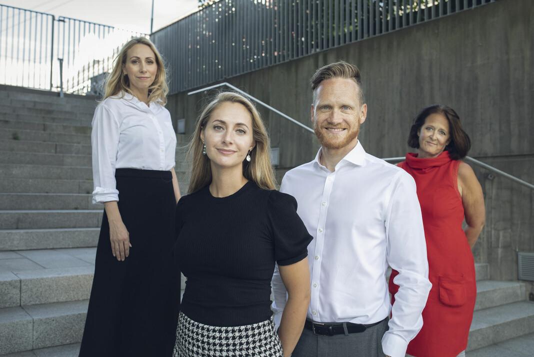 Disse skal fronte DNs nye ledelsessatsing, fra venstre: Journalist Jorun Sofie F. Aartun, organisasjonspsykologene Gitte og Thomas Nesset Midelfart og kommentator Eva Grinde.