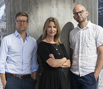 Trioen bak podkasten «Tut & mediekjør». Fra venstre Svein Tore Bergestuen, Eva Sannum og Christian Lyder Marstrander.