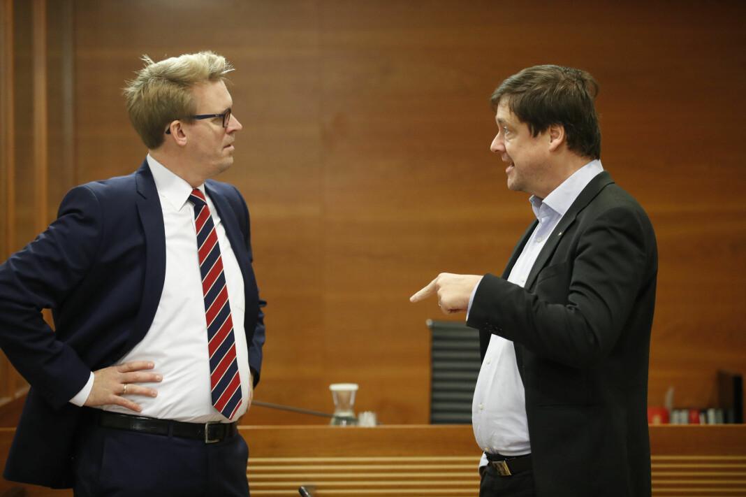 Statsadvokat Frederik Ranke (t.v.) og John Christian Elden er aktor og forsvarer i Bertheussen-saken. Her fra en annen anledning.