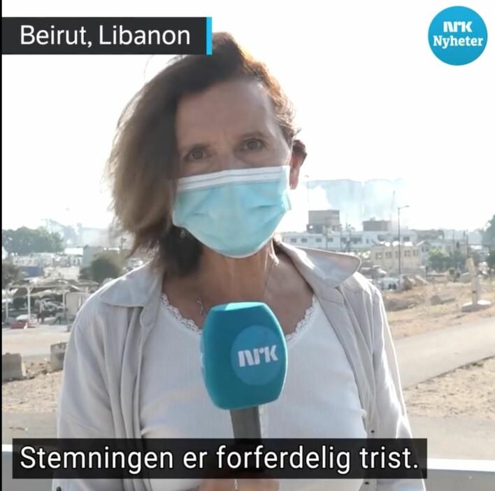 NRKs Sidsel Wold rapporterer på Dagsrevyen få timer etter eksplosjonen.