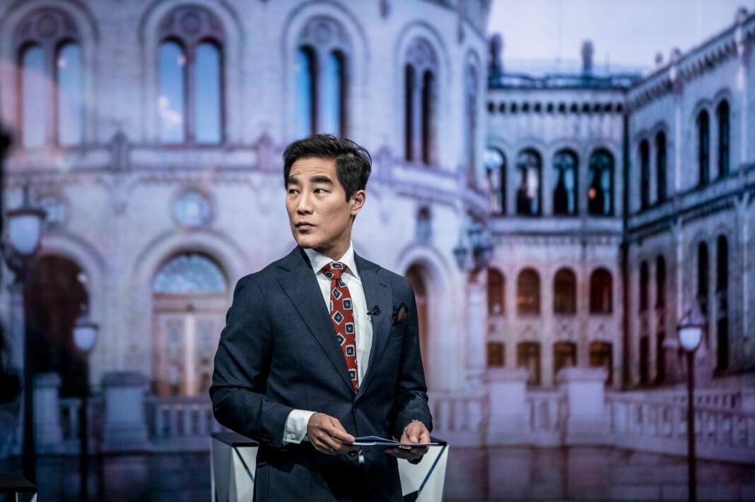 Programleder Fredrik Solvang holdt debatt om og med SIAN på NRK torsdag.