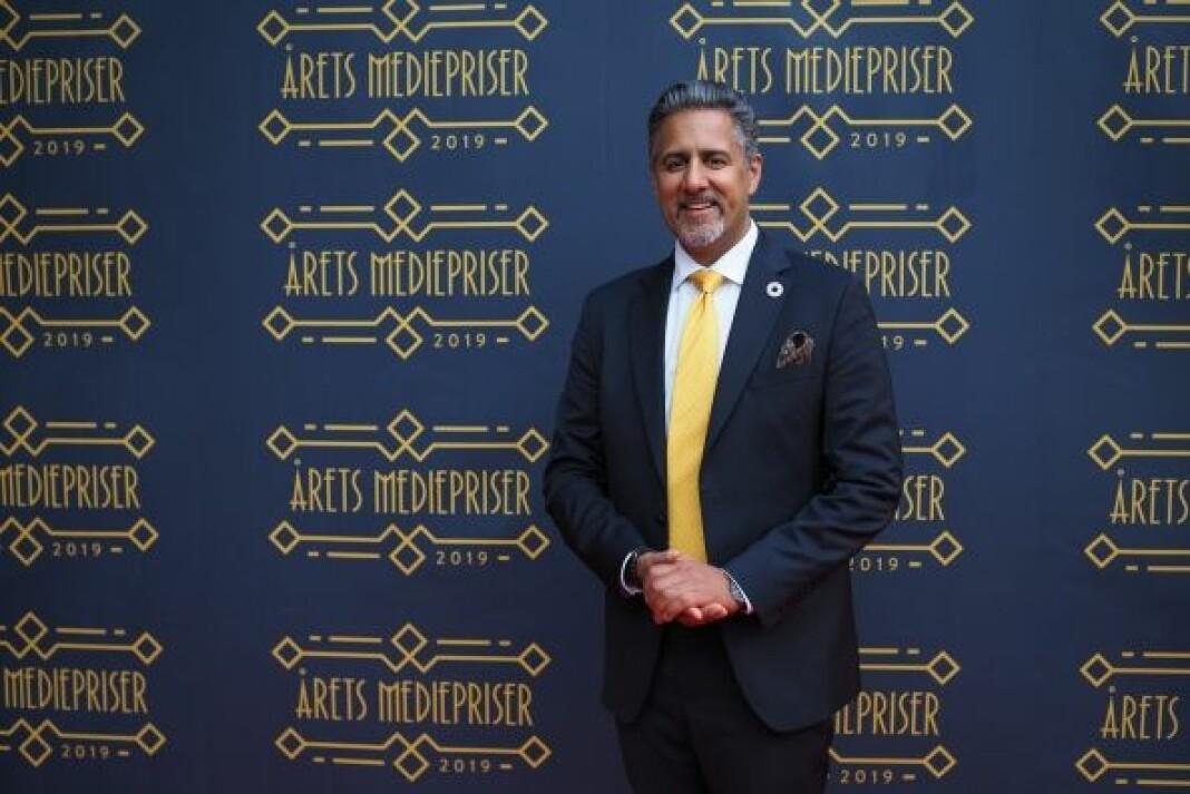 Abid Q. Raja på vei inn til Medieprisene 2019.