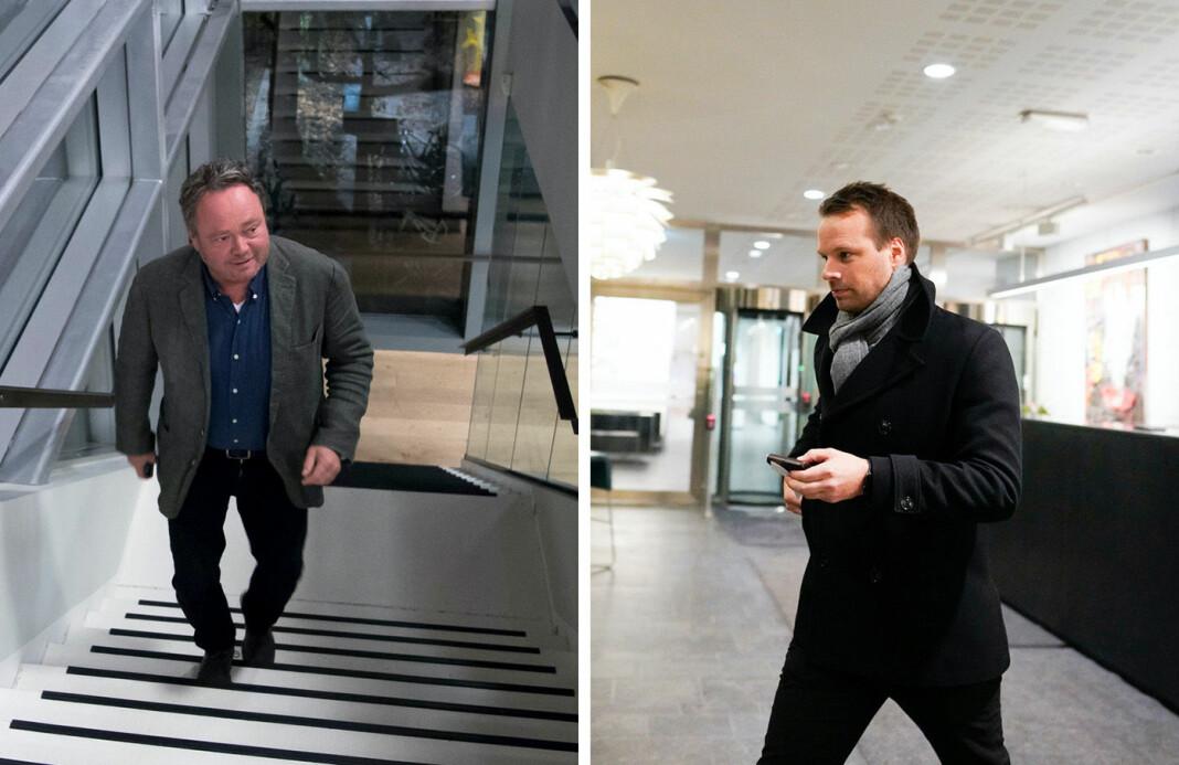 Stortingspolitiker Jon Helgheim (til høyre) kommer jevnlig med kritikk av TV 2-journalist Fredrik Græsvik på Twitter. Nå har sistnevnte tatt en «twitterpause».
