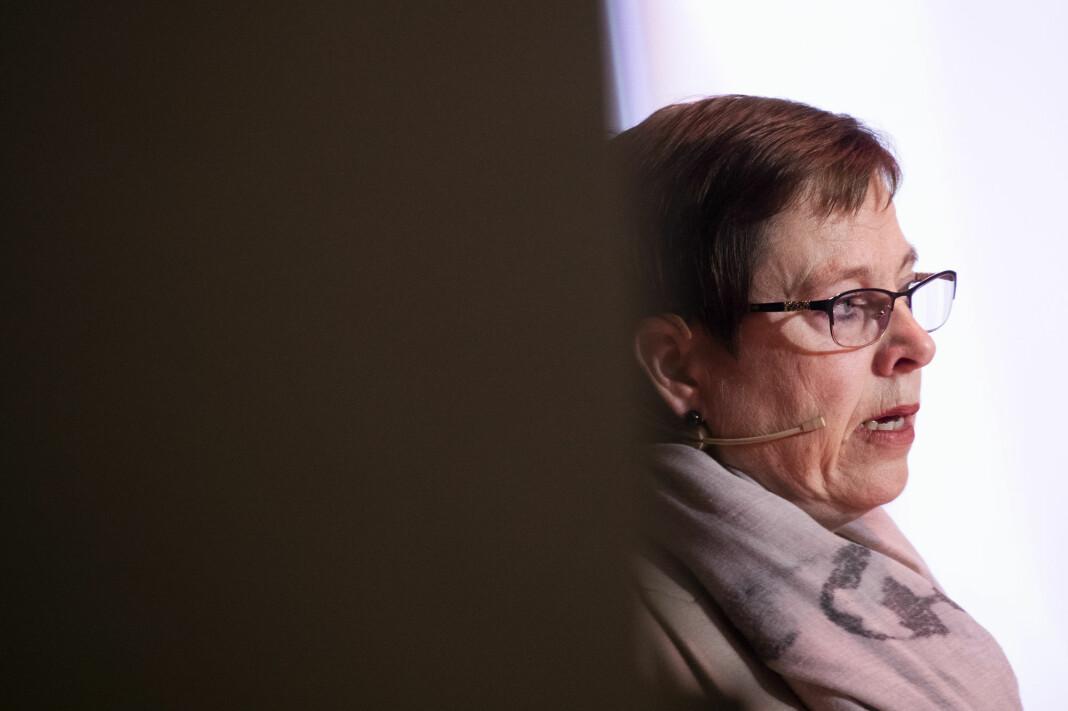Medietilsynet, her ved leder Mari Velsand, har endret på et kriterium i korona-støtteordning, slik at flere kan få penger.