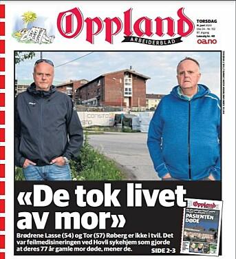 Oppland Arbeiderblad 11. juni i år. Faksimile
