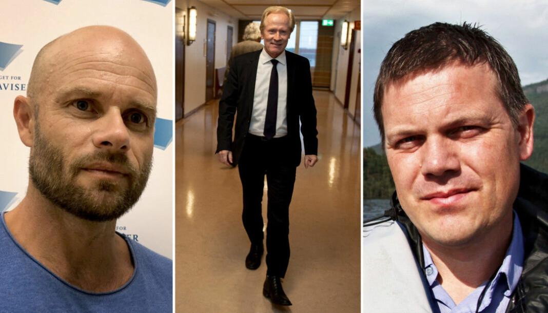 Journalist Thomas Frigård (t.v.) og redaktør Fred C. Gjestad (t.h.) møter på ny i retten. Advokat Per Danielsen representerer fremdeles saksøkeren.