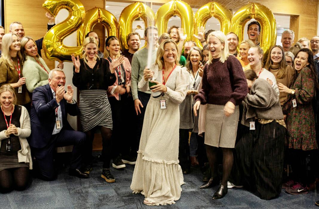 I dag presenterte MBL de ferske opplags- og lesertallene. VG har også i år god grunn til å feire. Bildet er fra da VG+ passerte 200.000 abonnenter. De offisielle opplaget er nå over 210.000.