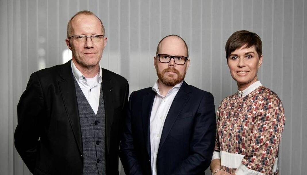 Generalsekretær Arne Jensen, ansvarlig redaktør Gard Steiro og advokat Ina Lindahl Nyrud i henholdsvis Norsk Redaktørforening, VG og Norsk Journalistlag.