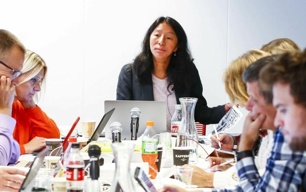 PFU-leder Anne Weider Aasen (i midten) svarer om kritisert konklusjon. Bildet er fra 2019, med en annen sammensetning av utvalget.