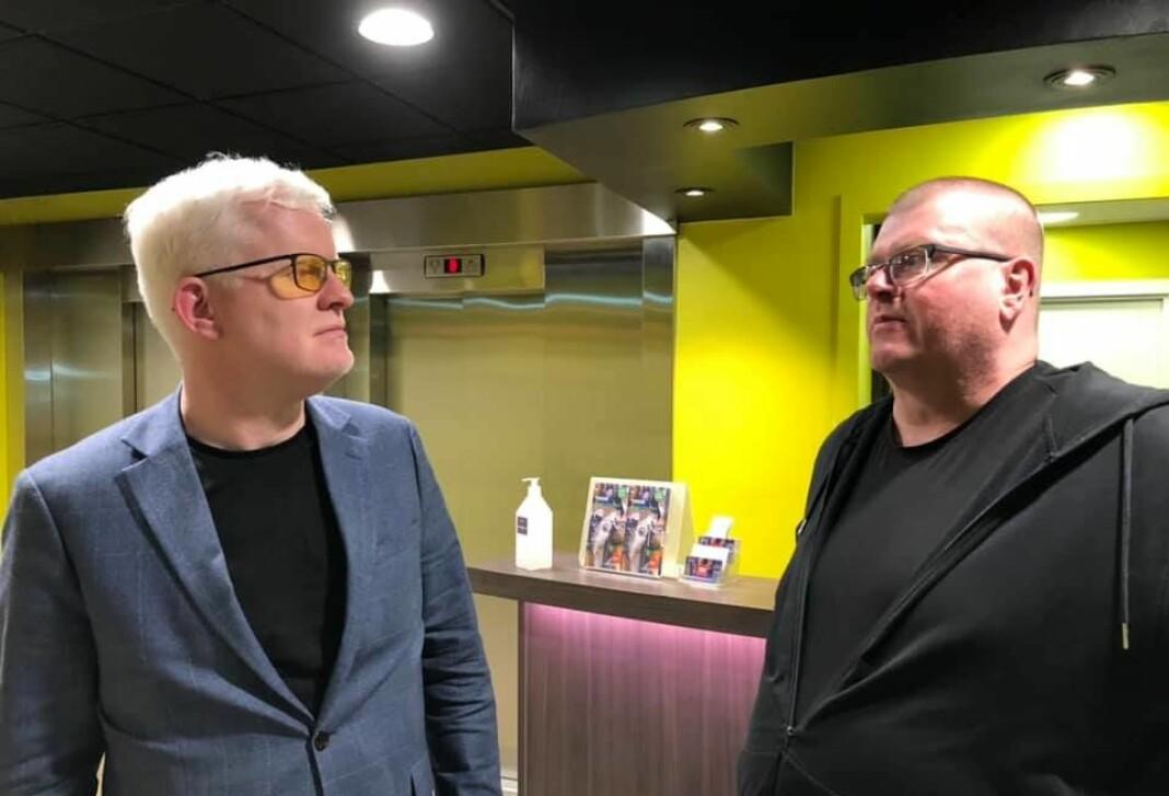 NJ-nestleder Dag Idar Tryggestad (t.v.) med forhandlingsleder og NRKJ-leder Rolf Johansen.