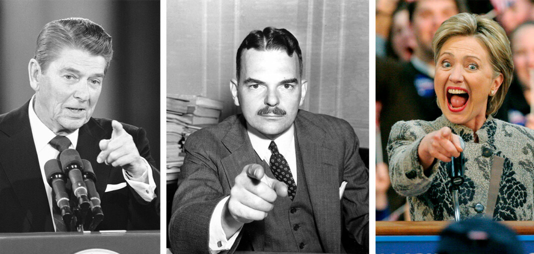 Tre amerikanske presidentval der meiningsmålingane bomma: Ronald Reagan i 1980, Thomas E. Dewey i 1948 og Hillary Clinton i 2016.