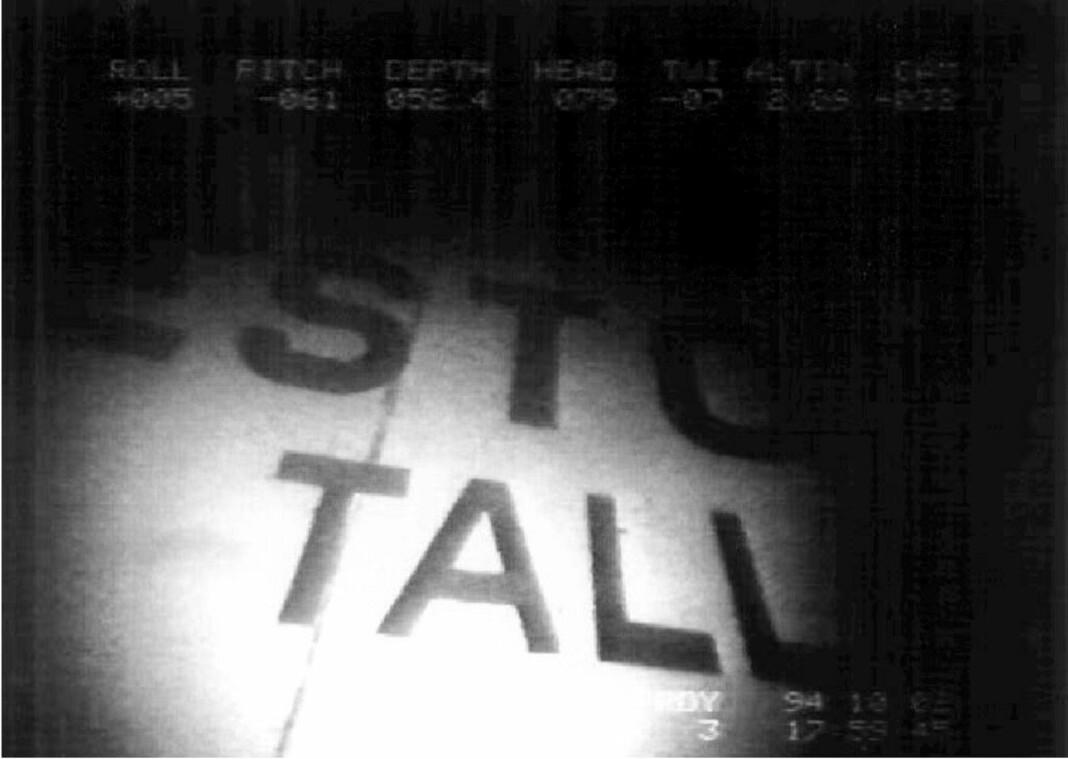 Fra video tatt av Estonia-vraket i 1994, i forbindelse med etterforskningen av ulykken. Produksjonsselskapet Monster har filmet vraket på nytt, selv om dette ikke er tillatt.