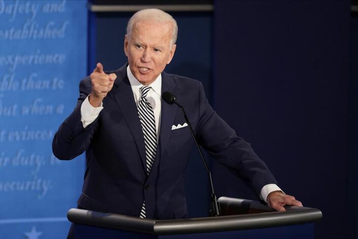 Demokratenes presidentkandidat Joe Biden under den kaotiske første presidentdebatten.