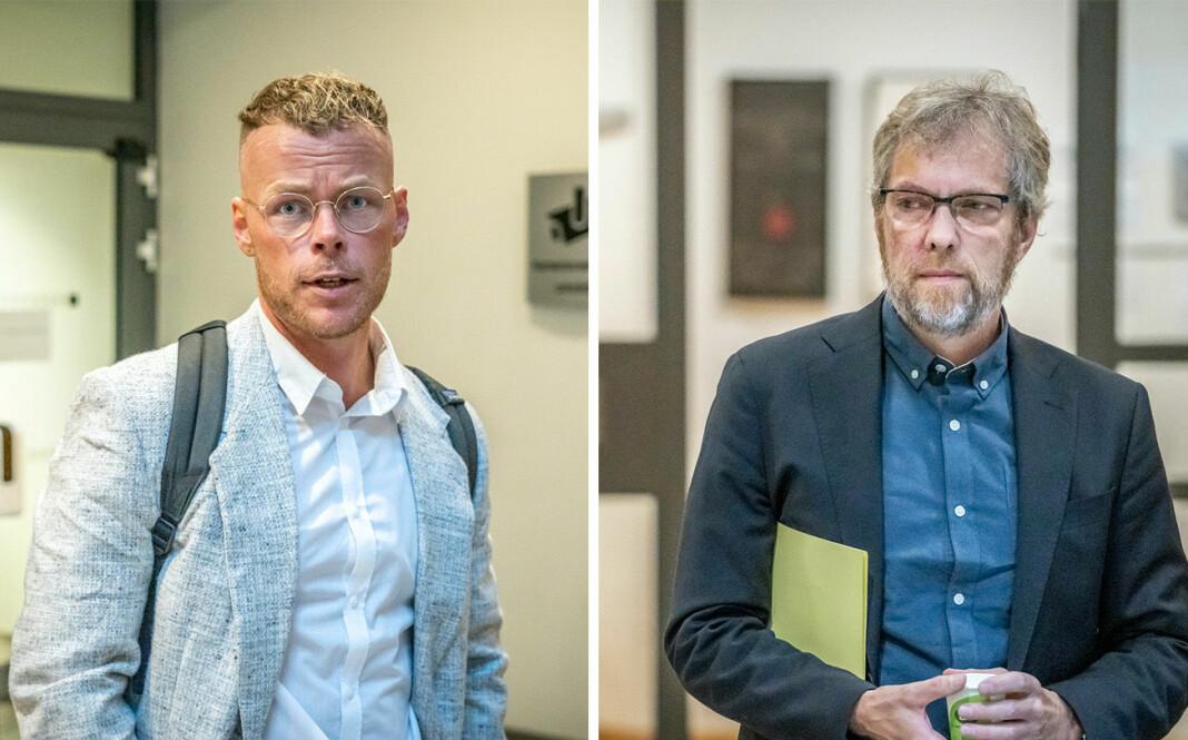 Dagbladets Steinar Solås Suvatne (t.v) og NRKs Tormod Strand vitnet begge i saken mot Laila Anita Bertheussen i Oslo tingrett onsdag formiddag.