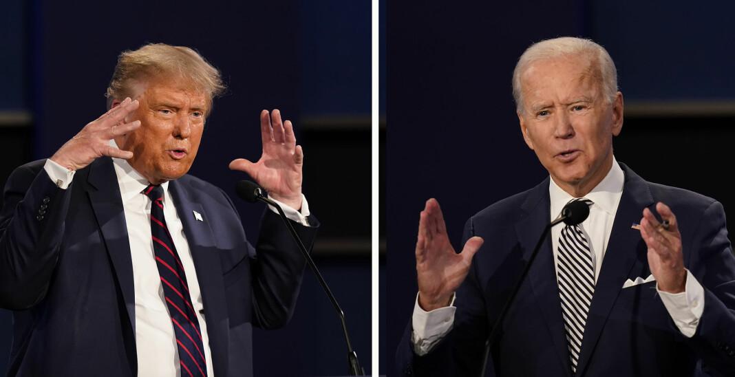President Donald Trump og tidligere visepresident Joe Biden barket sammen til den første av tre planlagte TV-debatter før presidentvalget 3. november.