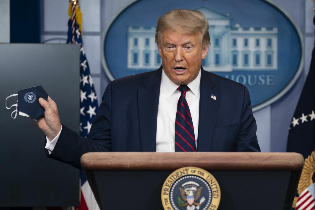 USAs president Donald Trump i presserommet i Det hvite hus.
