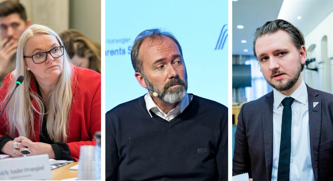 Åslaug Sem-Jacobsen (Sp), Trond Giske (Ap) og Freddy Øvstegård (SV) har ikke mye fint om regjeringens forslag til statsbudsjett for 2021.