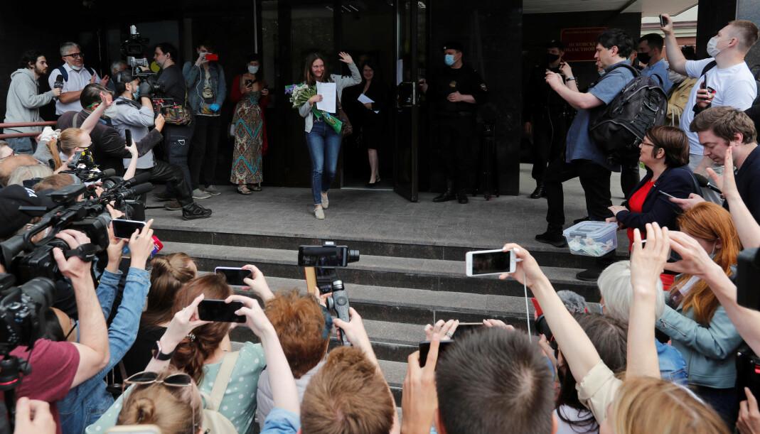 Svetlana Prokopjeva fotografert på vei ut av rettssalen.