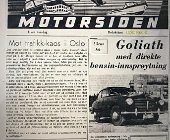 Faksimile av Arne Bondes bilspalte. Bildet er hentet fra Ulrik Eriksens Twitter-feed.