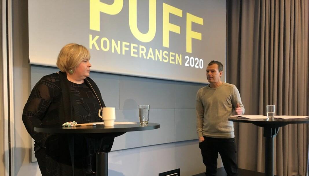 Elin Floberghagen og Håvard Melnæs møttes til diskusjon på årets PUFF-konferanse om kildevernkonflikten, men ble ikke enige.