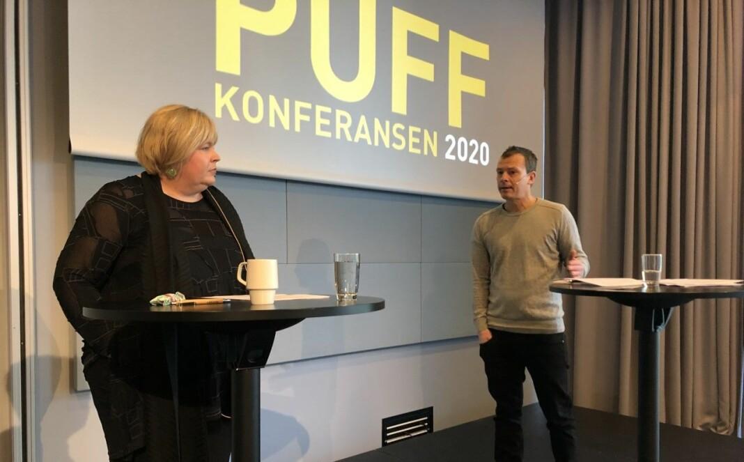 Elin Floberghagen og Håvard Melnæs møtte til diskusjon, men ble ikke enige.