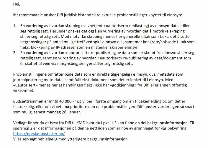 Digitaliseringsdirektoratet bestilte 21. januar 2019 en juridisk vurdering om Hallvard Nygårds skraping.